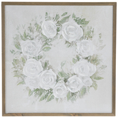 White Floral Wreath Wood Wall Decor