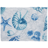Blue & White Seashell Coral Tablecloth