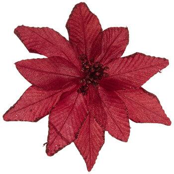 Red Glitter Poinsettia Pick