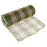 """Sage & Natural Buffalo Check Deco Mesh Ribbon - 10"""""""