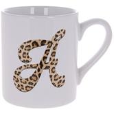 Leopard Print Letter Mug - A