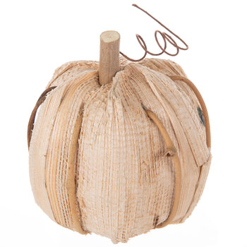 Cream Corn Husk & Grapevine Pumpkin