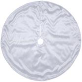 White Glitter Poinsettia Tree Skirt