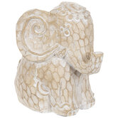 Brown Carved Sitting Elephant