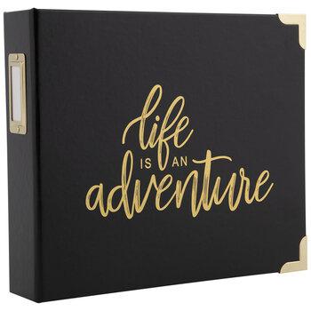 """Black & Gold Adventure 2-Ring Scrapbook Album - 8"""" x 8"""""""