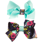 Navy Floral Grosgrain Bow Hair Clips