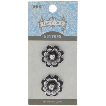 Antique Silver Flower Shank Buttons - 23mm