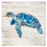 Sea Turtle & Map Wood Wall Decor