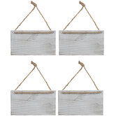 Whitewash Wood Signs With Jute Hangers