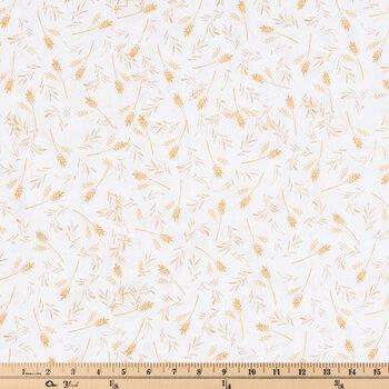 White & Gold Wheat Cotton Fabric