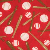 Red Baseballs Fleece Fabric