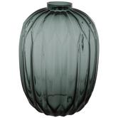 Teal Geometric Ridged Glass Vase
