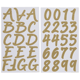 Gold Glitter Brush Alphabet Stickers