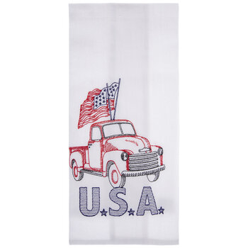 USA Embroidered Truck Kitchen Towel