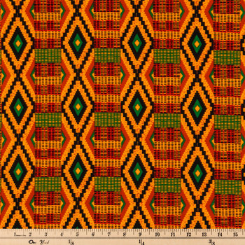 Orange Striped Kente Fabric