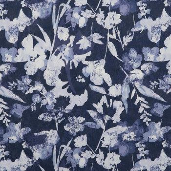 Blue Watercolor Floral Duck Cloth Fabric