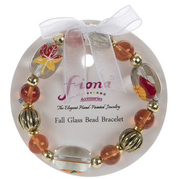 Leaves & Pumpkin Glass Bead Bracelet