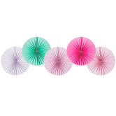 Pink & Mint Printed Paper Fans