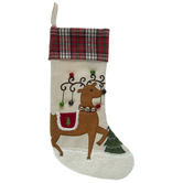 Reindeer Stocking With Plaid Cuff