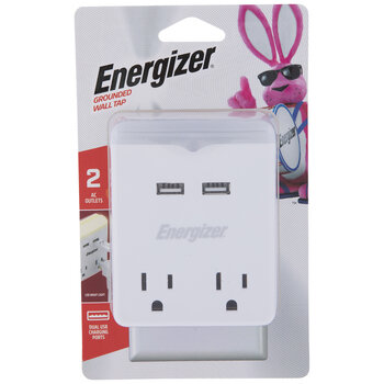 USB & AC Outlet Grounded Wall Tap