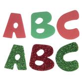 Red & Green Glitter Alphabet Foam Stickers