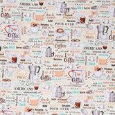 Coffee House Cotton Calico Fabric