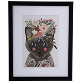 Floral Cat Framed Wall Decor