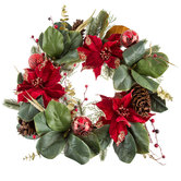 Poinsettia, Magnolia & Ornament Wreath