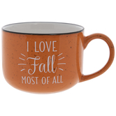 I Love Fall Orange Speckled Mug
