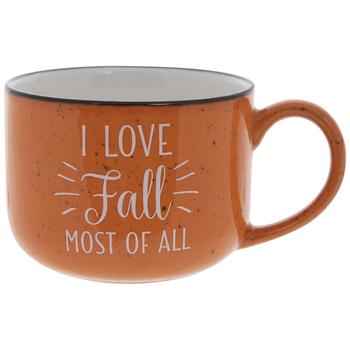 I Love Fall Orange Speckled Mug