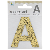 """Gold Glitter Letter Iron-On Applique A - 2 1/2"""""""