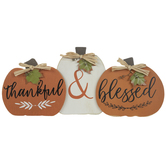 Thankful & Blessed Pumpkins Wood Decor