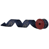 Navy & Gold Merry Christmas Wired Edge Satin Ribbon - 2 1/2""