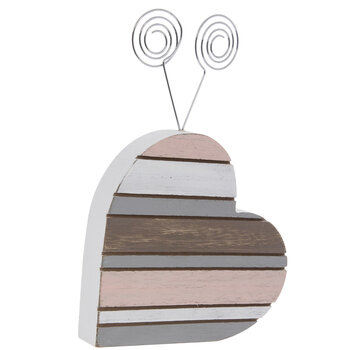 Striped Heart Wood Photo Clip