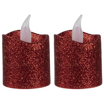 Red LED Glitter Votive Candles