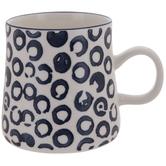 White & Blue Abstract Dots Mug