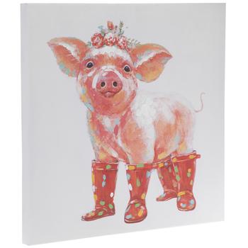 Pig Wearing Rain Boots Canvas Wall Decor