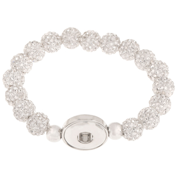 Round Rhinestone Beaded Snap Bracelet