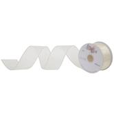 "Ivory Iridescent Wired Edge Sheer Ribbon - 1 1/2"""