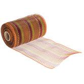 Fall Striped Metallic Deco Mesh Ribbon