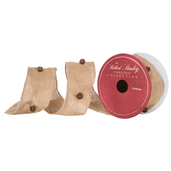 """Burlap Wired Edge Ribbon With Jingle Bells - 2 1/2"""""""