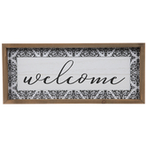 Welcome Damask Wood Wall Decor