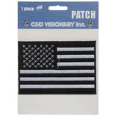 Black & White American Flag Iron-On Applique