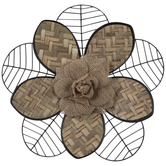 Black Wire & Woven Flower Metal Wall Decor