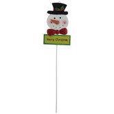 Merry Christmas Snowman Pick