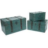 Antique Turquoise Storage Trunk Box Set