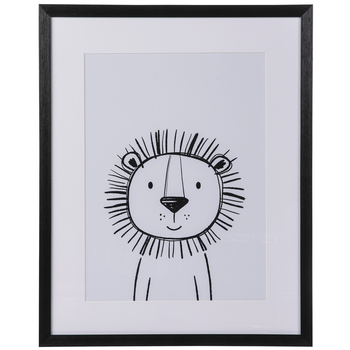 Black & White Lion Framed Wall Decor
