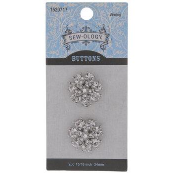 Layered Rhinestone Shank Buttons - 24mm