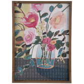 Pink & Teal Floral Wood Wall Decor