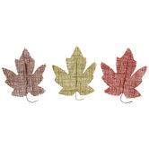 Brown, Green & Orange Burlap Maple Leaves